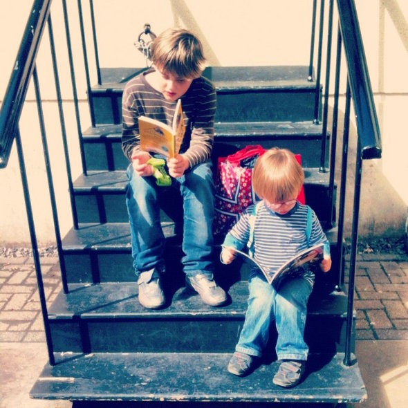 Two book loving little ones by slightly everything